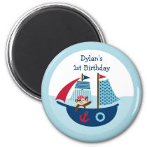 Nautical Pirate Whale Baby Shower Magnet