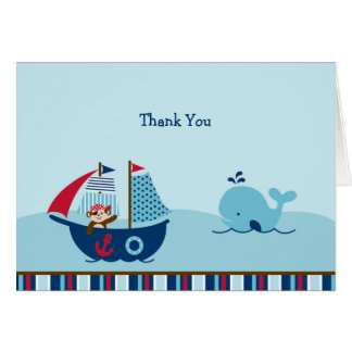 Nautical Pirate Whale Baby Shower Thank You Card