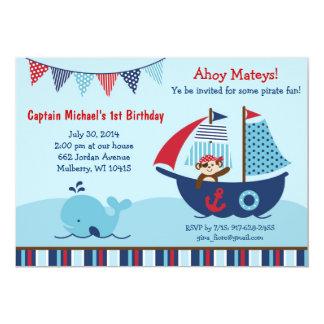 Nautical Pirate Whale Birthday Invitations