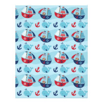 Nautical Pirate Whale Scrapbook Paper