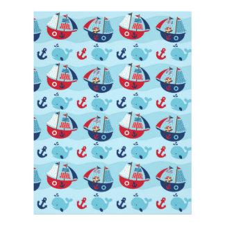 Nautical Pirate Whale Scrapbook Paper Letterhead
