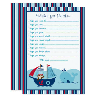 Nautical Pirate Whale Wishes For Baby Card
