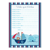 Nautical Pirate Whale Wishes for Baby Cards