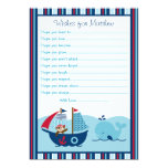"Nautical Pirate Whale Wishes for Baby Cards 5"" X 7"" Invitation Card"