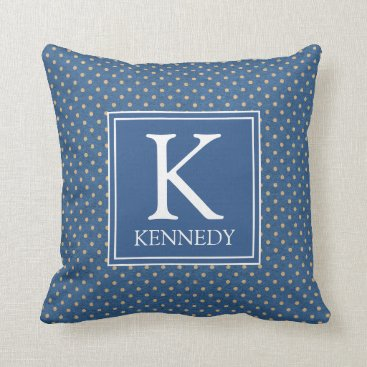 Beach Themed Nautical Polka Dots Monogram Throw Pillow