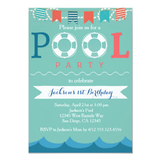Pool Party - Nautical Pool Party Birthday Invitation