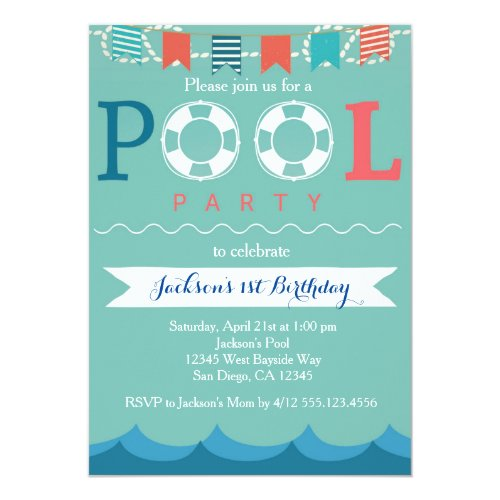 Nautical Pool Party Birthday Invitation
