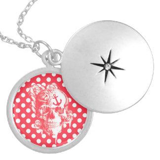 Nautical Pop art polka dot skull Round Locket Necklace