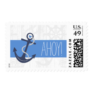 Nautical Postage Baby or Bridal Shower, Navy Blue