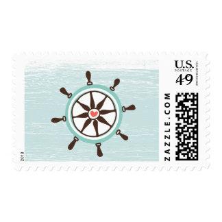 Nautical Postage Ship Steering Wheel Blue