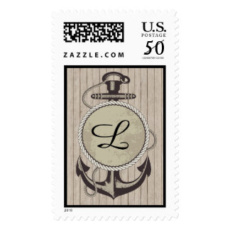 Nautical Postage with Monogram Anchor Old World