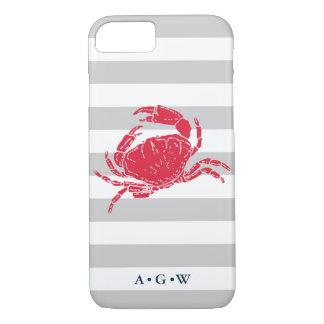 Nautical Preppy Gray Stripe & Red Crab Monogram iPhone 8/7 Case