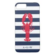 Nautical Preppy Navy Stripe & Lobster | Monogram iPhone 7 Case