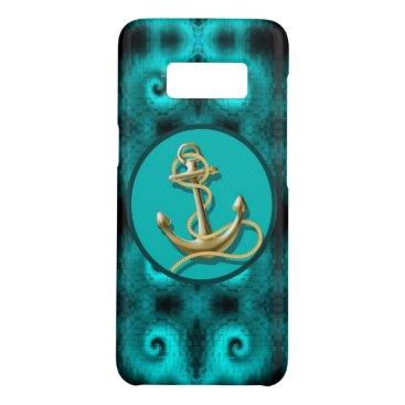 Beach Themed nautical preppy ocean teal swirls beach anchor Case-Mate samsung galaxy s8 case