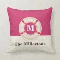 Nautical Preserver Pretty Pink Monogram Throw Pillow