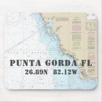 Nautical Punta Gorda Florida Latitude Longitude Mouse Pad