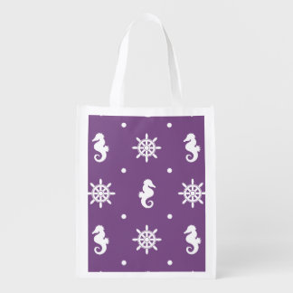 Nautical purple pattern reusable grocery bag