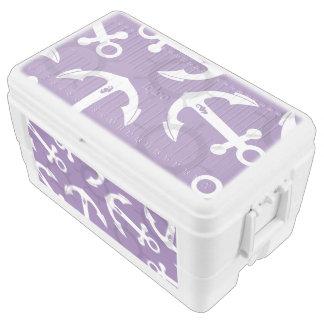 Nautical Purple White Anchors Pattern Ice Chest