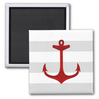 Nautical Red Anchor Gray White Stripes 2 Inch Square Magnet