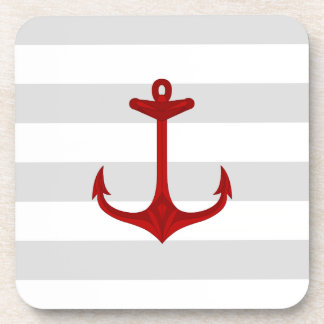 Nautical Red Anchor Gray White Stripes Drink Coaster