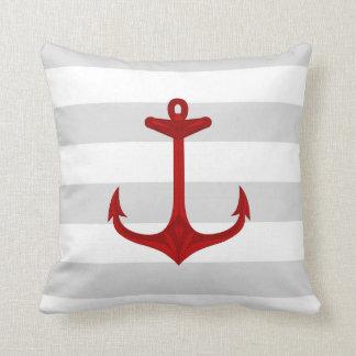 Nautical Red Anchor Gray White Stripes Pillow