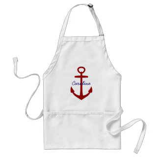 Nautical Red Anchor  Personalized Adult Apron