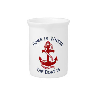 Nautical Red Anchor {pick your color} Pitcher