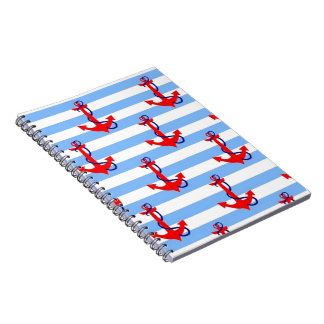 NAUTICAL RED ANCHOR with LIGHT BLUE STRIPE Notebook
