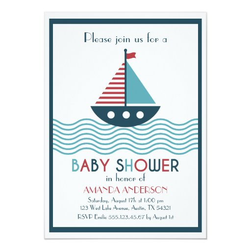 Nautical red and blue boat BABY SHOWER Card