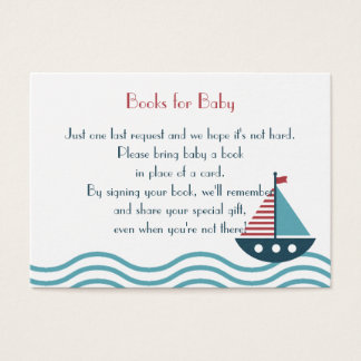 Nautical red and blue boat BOOKS REQUEST Custom Business Card