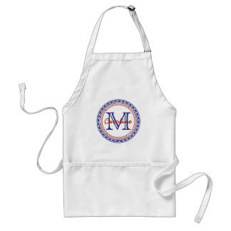 Nautical Red and Blue Monogram Adult Apron
