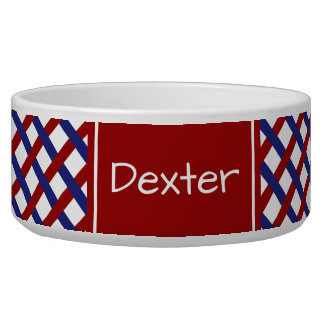 Nautical Red and Blue Plaid Personalized Bowl