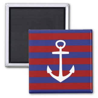 Nautical Red and Blue Stripes with White Anchor 2 Inch Square Magnet