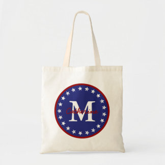 Nautical Red and Blue With Stars Monogram Tote Bag