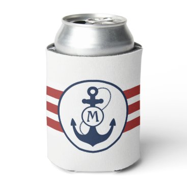 Beach Themed Nautical Red and Navy Blue Anchor Monogram Can Cooler