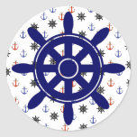 Nautical red blue Anchors and Wheel Stickers