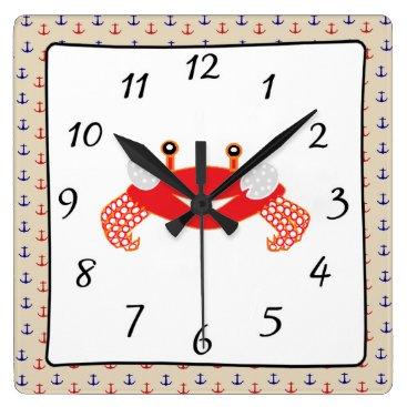 Nautical Red Blue Anchors  Crab Clock