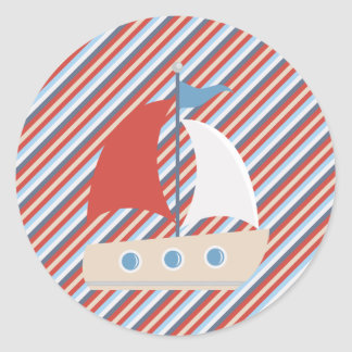 Nautical Red Blue White Stripes and Boat Sticker