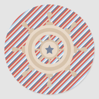 Nautical Red Blue White Stripes and Boats Wheel Classic Round Sticker