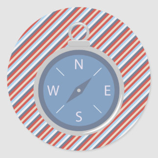 Nautical Red Blue White Stripes and Compass Round Sticker