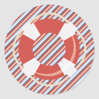 Nautical Red Blue White Stripes and Life Buoy Round Sticker