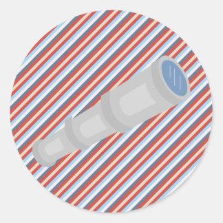 Nautical Red Blue White Stripes and Telescope Round Sticker