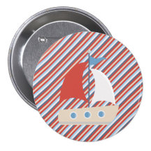 Nautical Red Blue White Stripes Boat Button