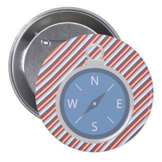 Nautical Red Blue White Stripes Compass Button