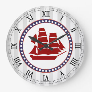 Nautical red clipper ship and grey stripes large clock