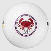 Nautical red crab and grey stripes monogram golf balls