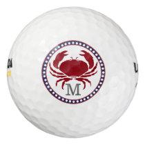 Nautical red crab and grey stripes monogram golf balls