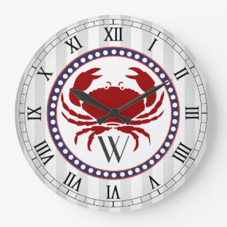 Nautical red crab and grey stripes monogram large clock