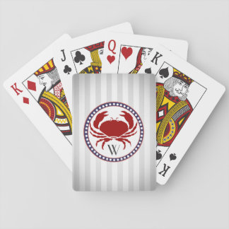 Nautical red crab and grey stripes monogram playing cards