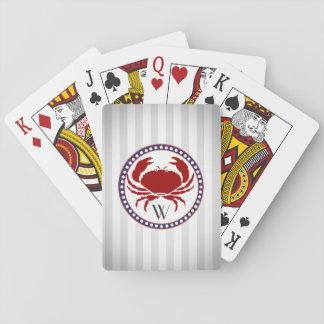 Nautical red crab and grey stripes monogram poker deck